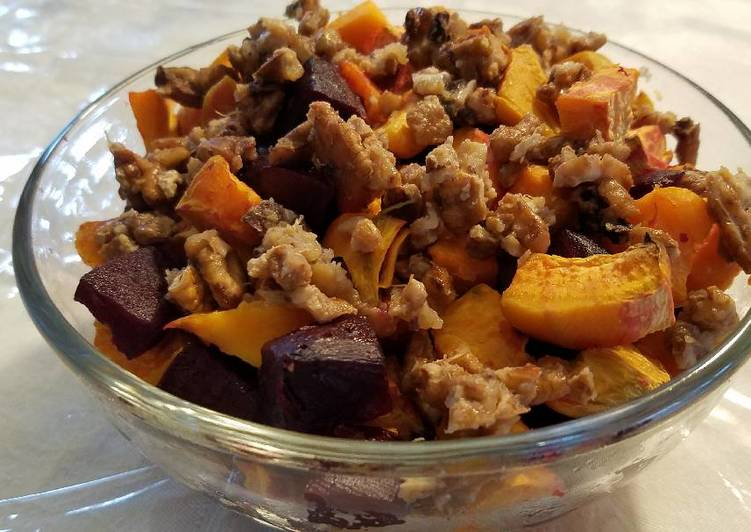 Roasted sweet pot and beet salad