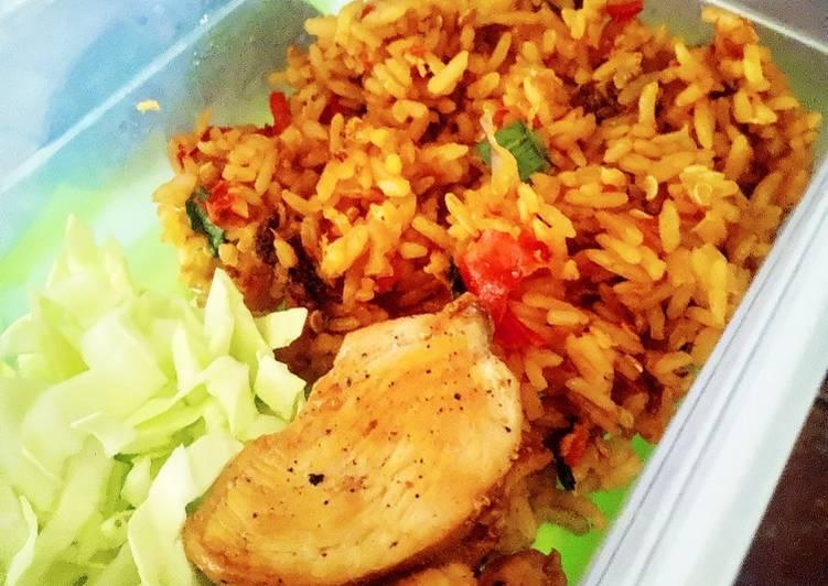 Nasi goreng (tanpa minyak goreng - menu diet)