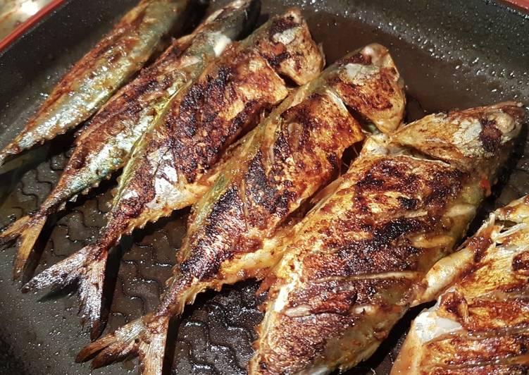 Ikan bakar perencah nasi goreng & pencicah air asam - resepipouler.com