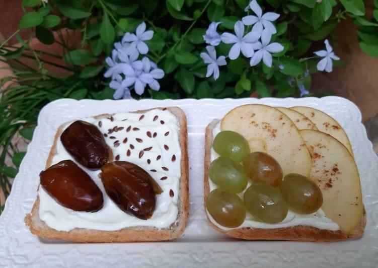 Maniere simple a Faire Super rapide fait maison Tartine au fromage blanc et fruits de saison 🍇🍏🍞