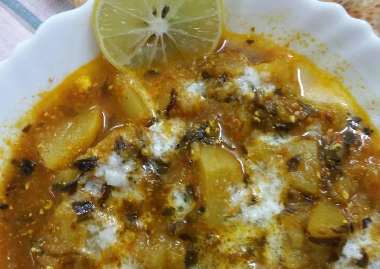 Turnip and fenugreek sabji