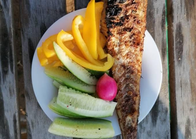Минтай на костре с овощами ПП ужин