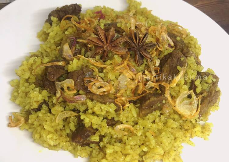 Nasi kebuli sapi - rice cooker