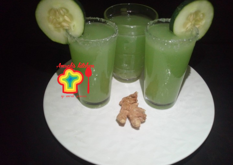 Recipe of Perfect Peeled cucumber and ginger drink