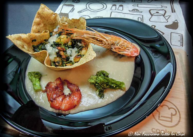Recipe: Yummy Cestini di lasagna con cima di rapa e gamberi su vellutata di fumetto di gambero