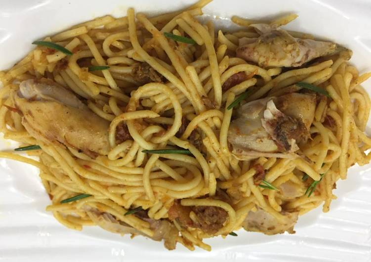 Pasta with smoked chicken