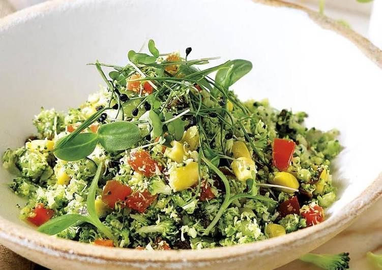 Cuscús de brócoli con germinados