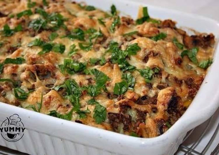 запеканка с фаршем грибами и картофелем