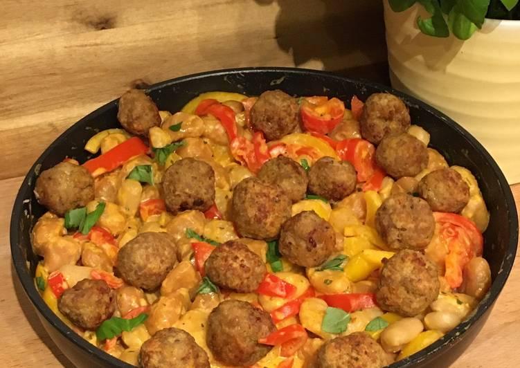 Paprika-Gnocchi-Pfanne mit Hackbällchen – Serious Eat Cookbooks