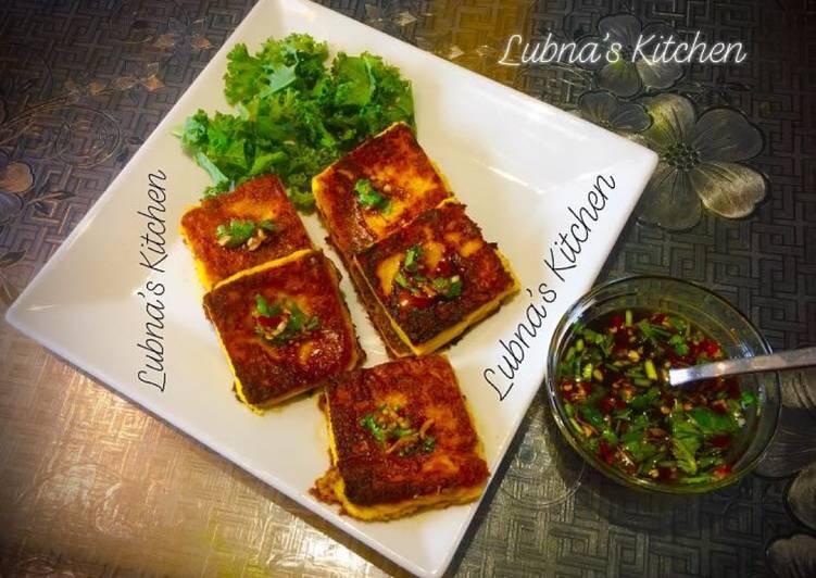 Steps to Make Homemade Chickpea flour / besan Tofu with Garlic Ginger Chilli Sauce (Vegan 🍃& Vegetarian 🍃