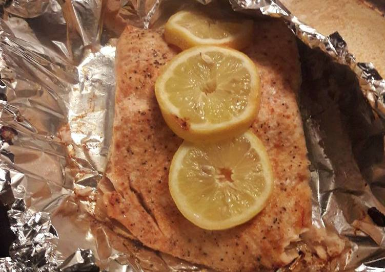 Recipe of Ultimate Baked lemon herb salmon