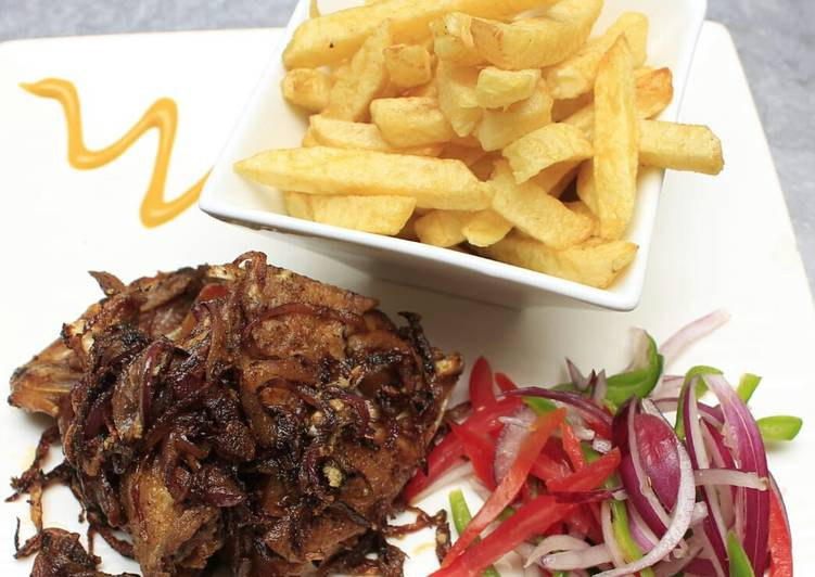 Deep fried marinated pork with fries