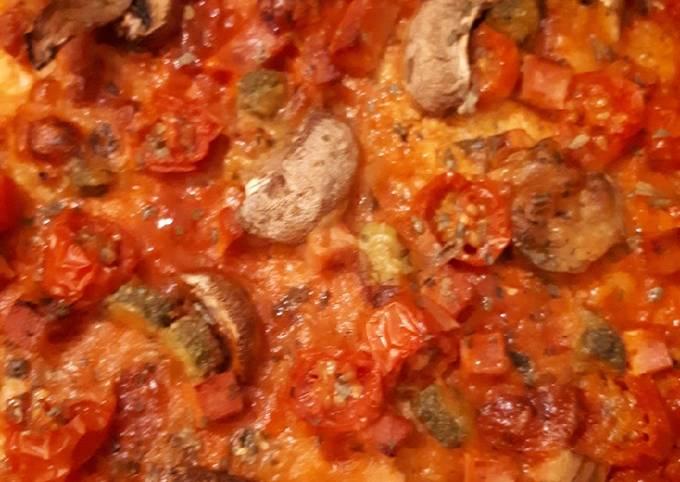 Pizza en pâte de chou fleurs!