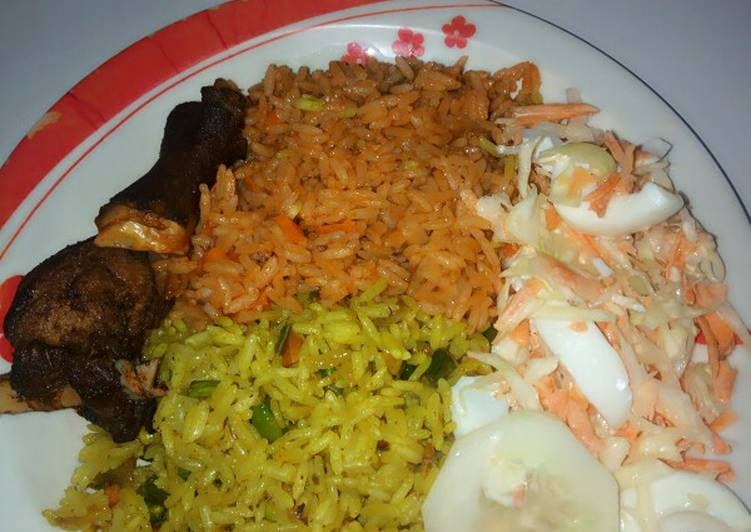 5 Minute How to Make Summer Fried and jollof rice combo garnished with coleslaw