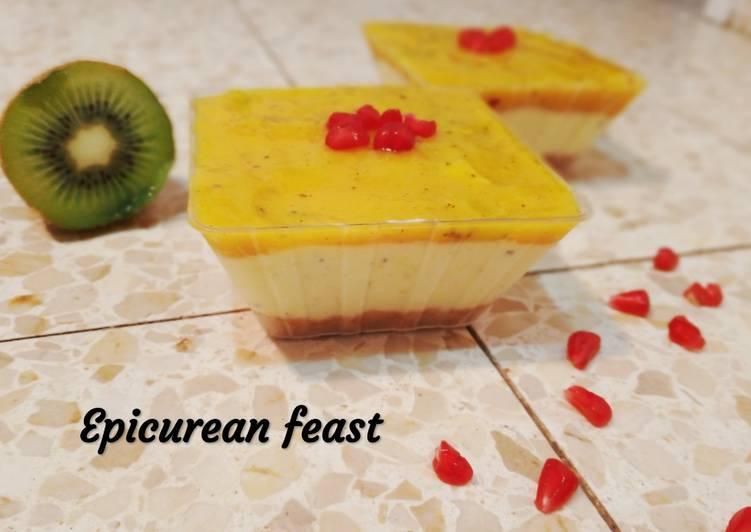Recipe of Homemade No-bake Mango Kiwi Cheesecake