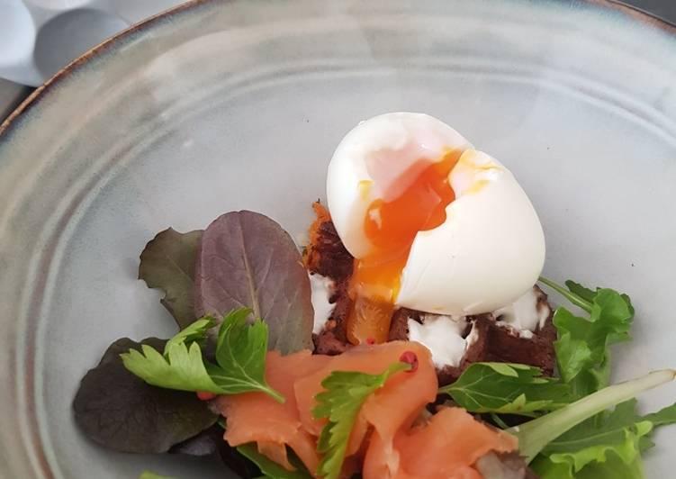 Le moyen le plus simple de Préparer Appétissante #healthy #gaufres patates douces potiron et son oeuf mollet