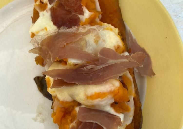 Patates douces au chou, jambon de parme et mozzarella 🧀