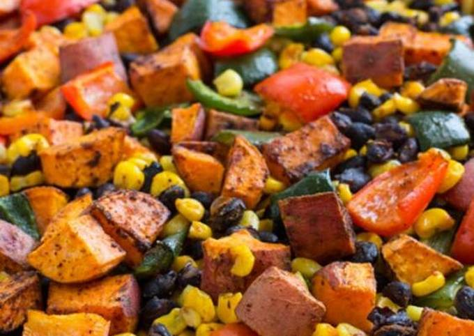 Vickys Mexican-Style Sweet Potato Salad with Honey Mustard Dressing, Gluten, Dairy, Egg, Soy & Nut-Free
