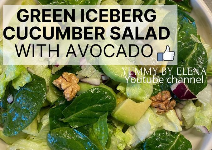Green Iceberg Cucumber Salad with Avocado l Vegan Salad l Easy & Healthy Salad Recipes