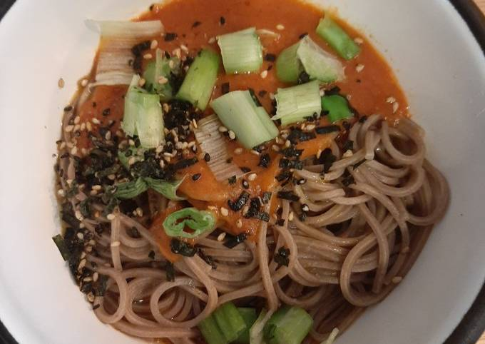 Soba Noodles with Miso Roasted Tomatoes