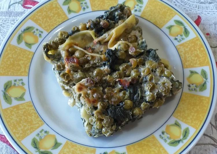 How to Cook Appetizing Pasticcio with gorgonzola, spinach, peas and ham
