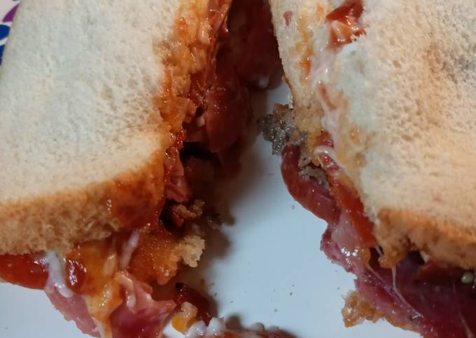 Leftover Pizza Topping Sandwich