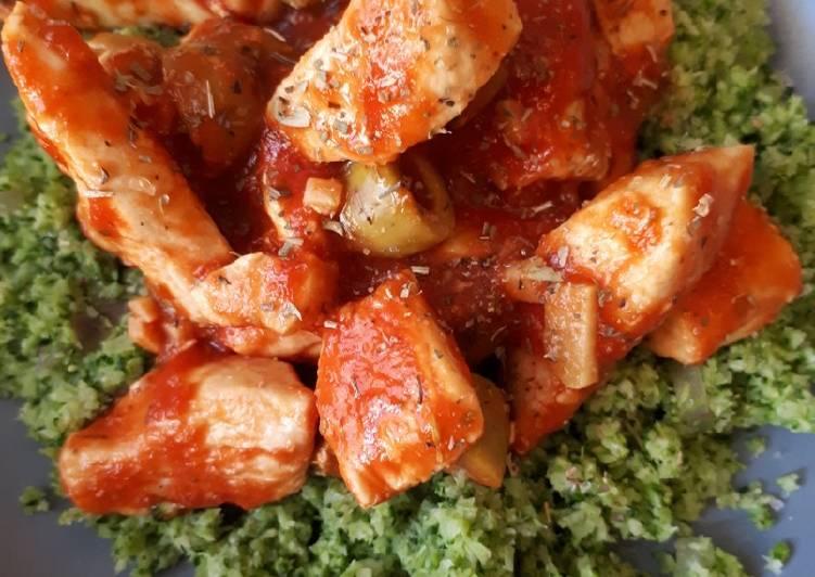 Poulet tomate/olives et semoule de brocolis