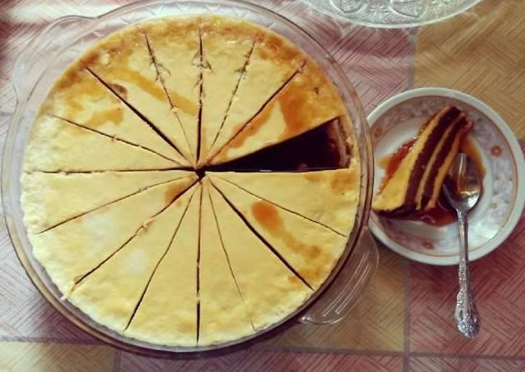 Puding Custard lapis Coklat