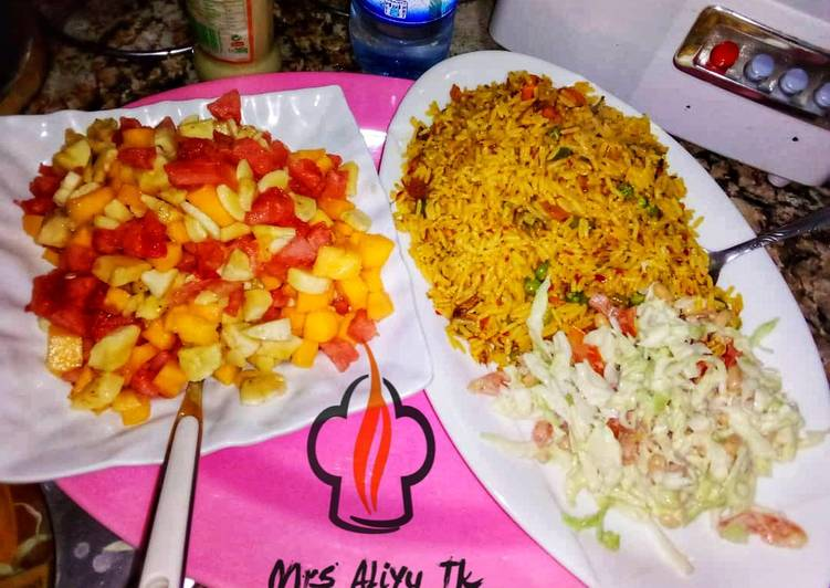 Recipe: Delicious Jalof rice with coleslow and fruits salad