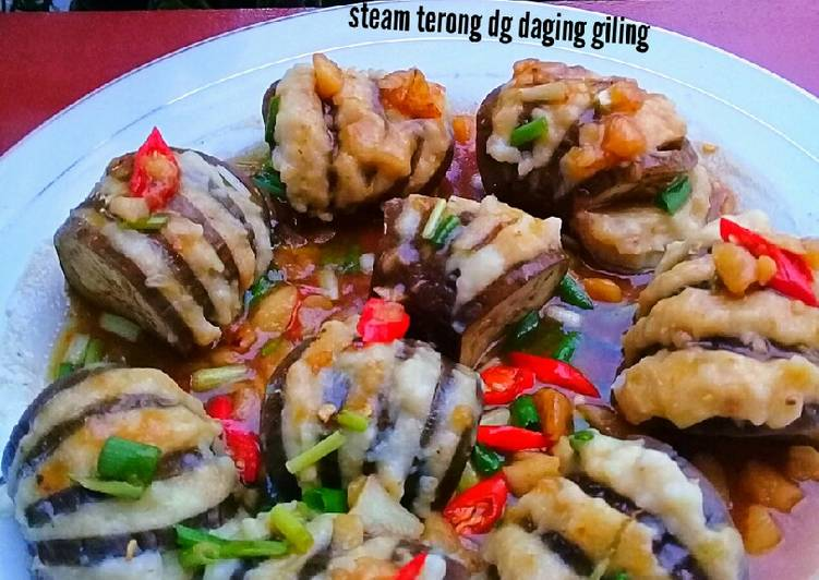 Steam terong dg daging ikan giling