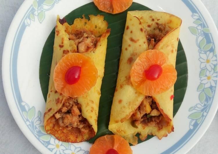Orange pancake with chicken masala