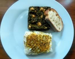 Espinacas con garbanzos y lomo de bacalao al curry con naranja