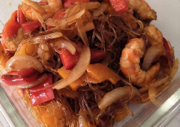 Comment Faire Des Vermicelle de riz poivrons crevettes
