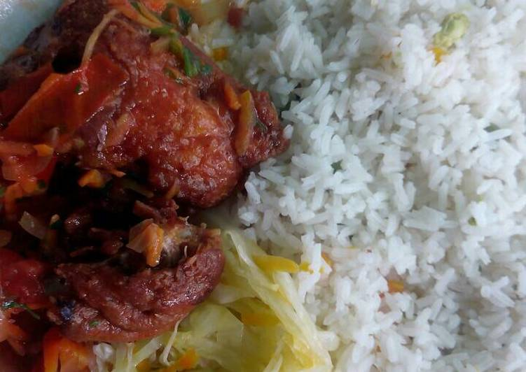 Stewed chicken with rice and veggies