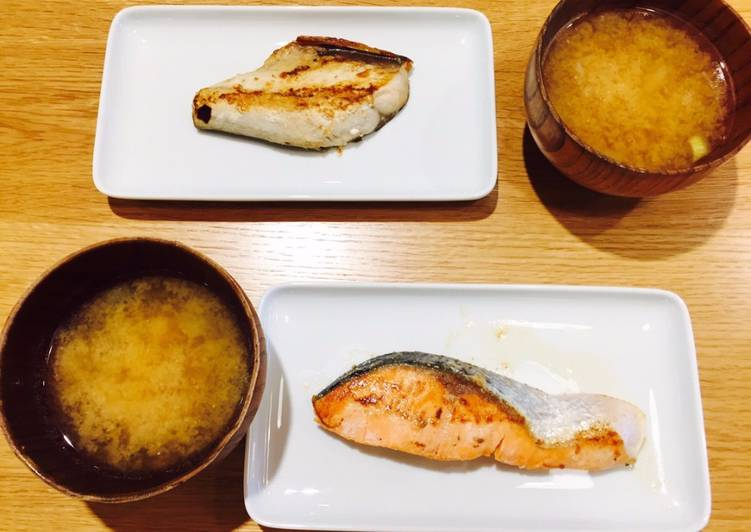 Grilled fish and miso soup<Japan>