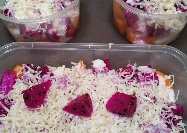 Salad Buah dressing plain yoghurt & madu - cookandrecipe.com