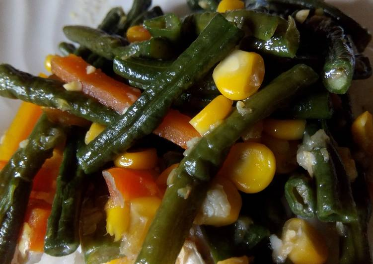 Cara Gampang Menyiapkan Tumis kacang panjang jagung manis(oseng Vegetarian), Enak Banget