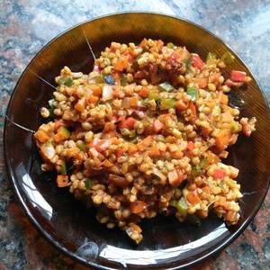 Wok de cebada perlada con vegetales