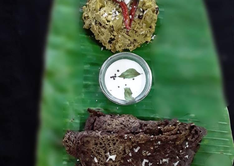 Recipe of Homemade Chakka kuzhachathu raw jackfruit curry with millet pitha