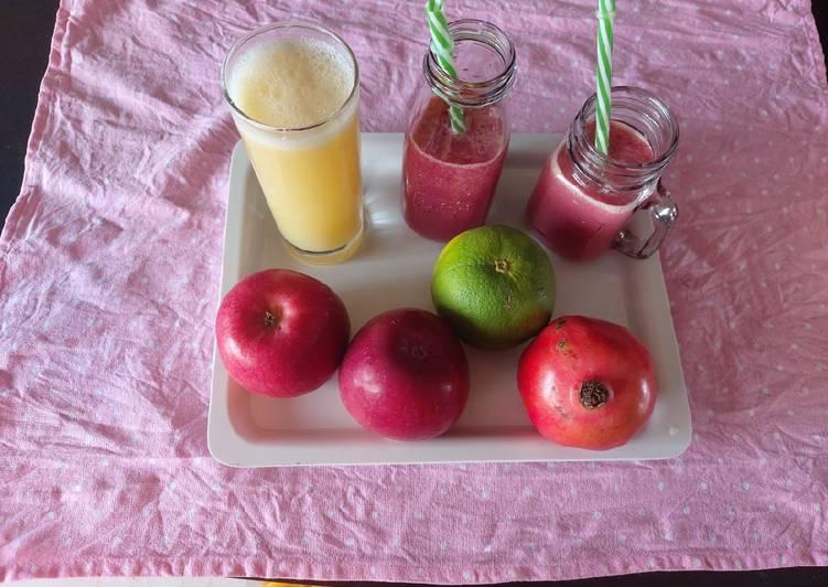 Pomegranate apple/ and mosambi/orange juice / refreshing healthy