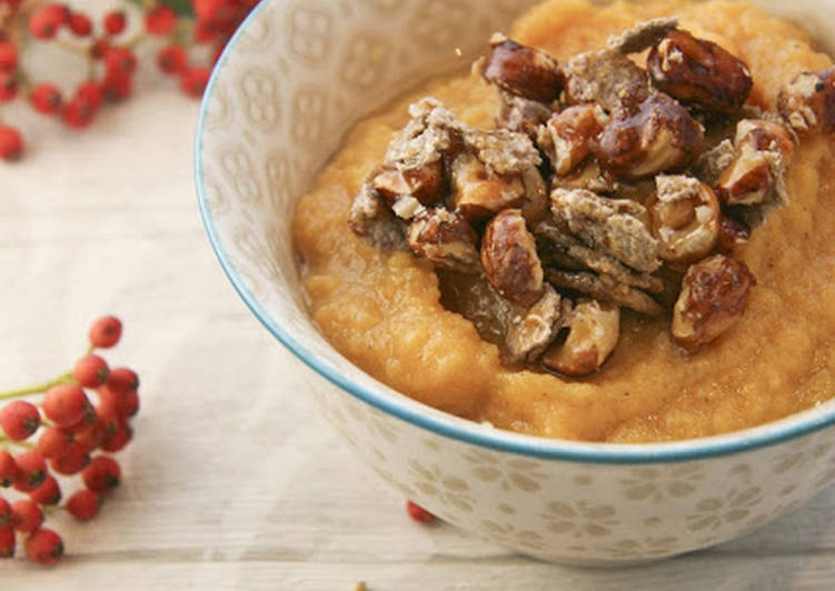 Comment Cuisiner Appétissant Compote pomme-kaki et son craquant sarrasin et noisette