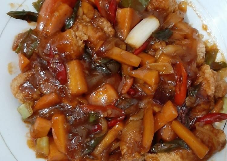 Salmon Fillet Belly Crispy + Wortel Saos Tiram
