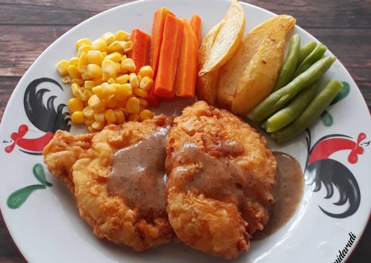 Steak Ayam Crispy dengan Saus Barbeque Homemade