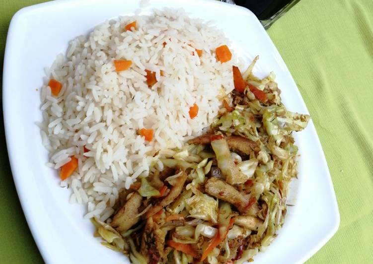 Living Greener for Better Health By Eating Superfoods White rice and cabbage stir fry