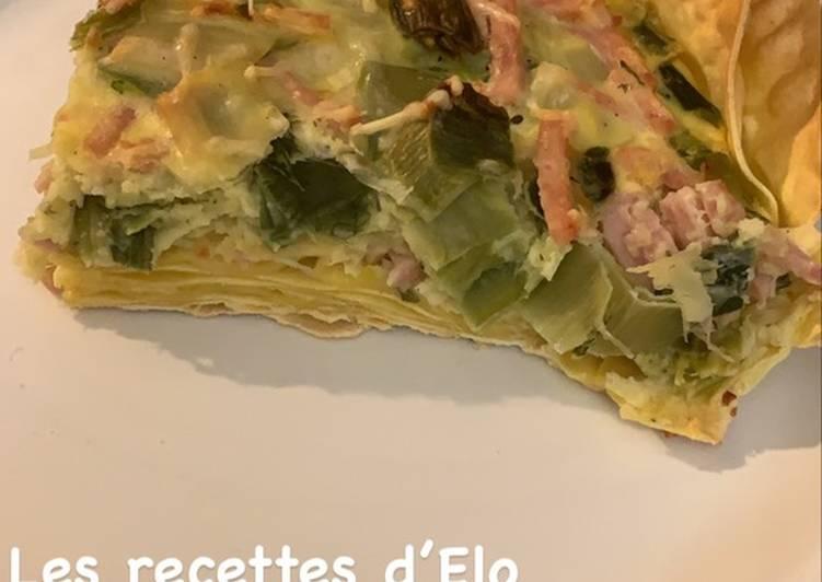 Recette Délicieuse Quiche de lasagnes aux poireaux
