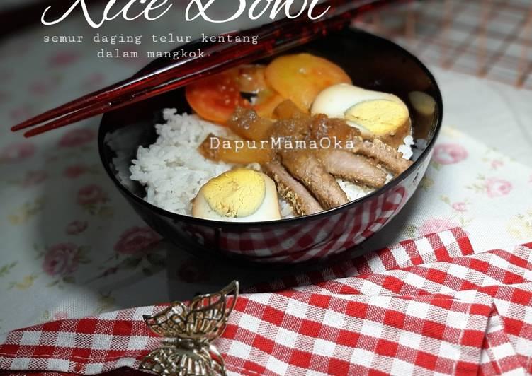 Resep Rice Bowl_Semur Daging Telur Kentang Dalam Mangkok🥣🥣 Yang Gampang Sedap