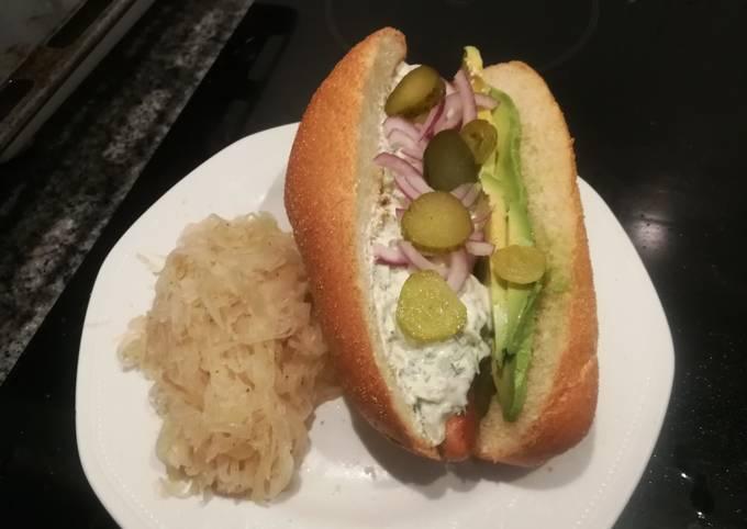 Sausage with tzaziki and sauerkraut
