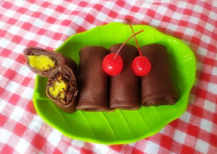 Cara Membuat Dadar gulung coklat yang enak