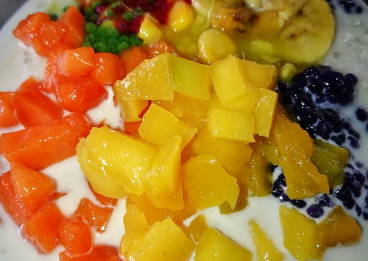 Mixed Fruit Cendol Pulut for Iftar #MaratonRaya #Minuman - resepipouler.com