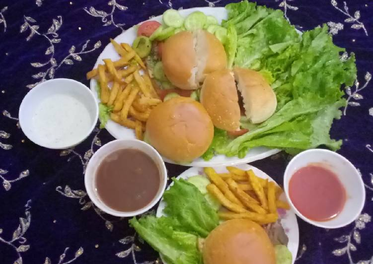 Easiest Way to Cook Tasty MINI CHAPLI BURGER 👑 WITH FRENCH FRIES